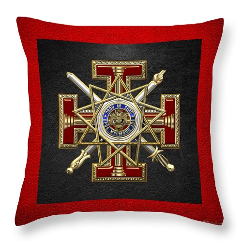 'ancient Brotherhoods' Collection By Serge Averbukh Throw Pillow featuring the digital art 33rd Degree Mason - Inspector General Masonic Jewel by Serge Averbukh