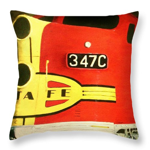 Locomotive Throw Pillow featuring the painting 347 C Up Close by K Alan Jarrett