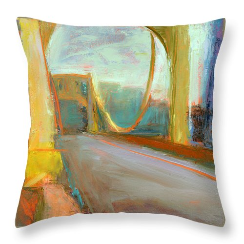 Bridges Throw Pillow featuring the painting Rcnpaintings.com by Chris N Rohrbach