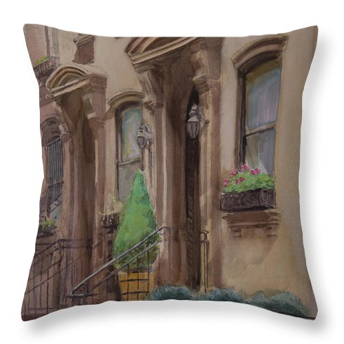 36th Street Throw Pillow featuring the painting 36th Street Ny Residence Of Fdr by Walter Lynn Mosley