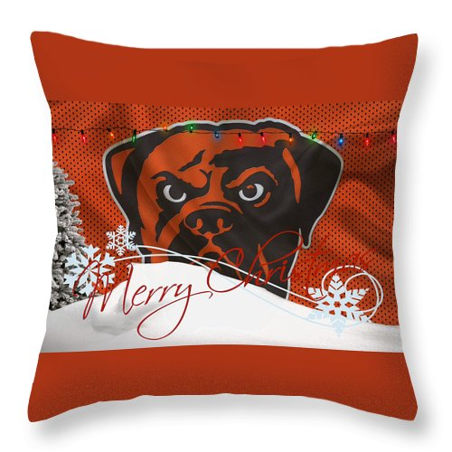 Browns Throw Pillow featuring the photograph Cleveland Browns by Joe Hamilton