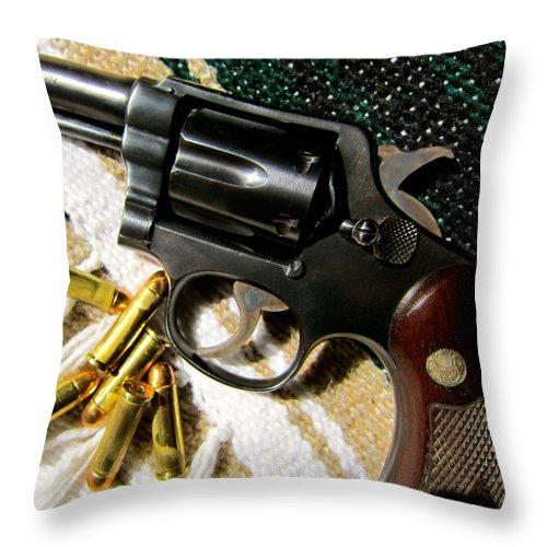 Handgun Throw Pillow featuring the photograph 38 Revolver by Alan Metzger