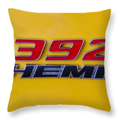 392 Hemi Throw Pillow featuring the photograph 392 Hemi In Yellow by Guy Whiteley