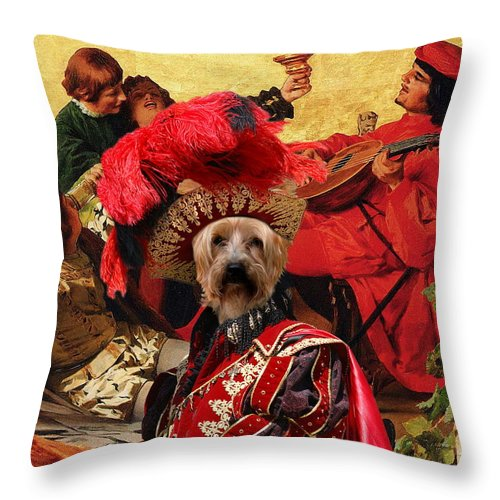 Silky Terrier Throw Pillow featuring the painting Silky Terrier Art Canvas Print by Sandra Sij