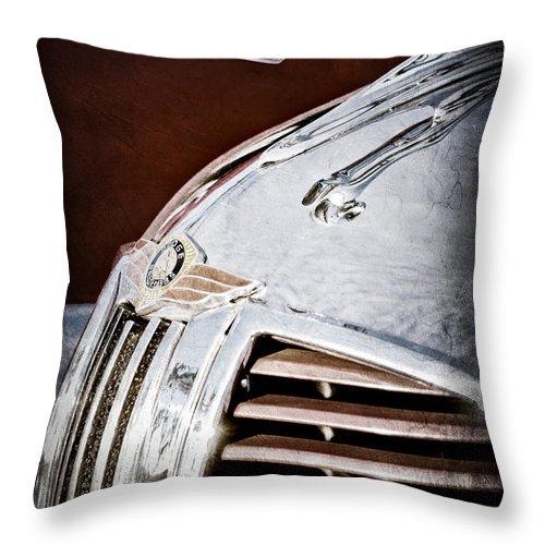 1938 Dodge Ram Hood Ornament Throw Pillow featuring the photograph 1938 Dodge Ram Hood Ornament by Jill Reger