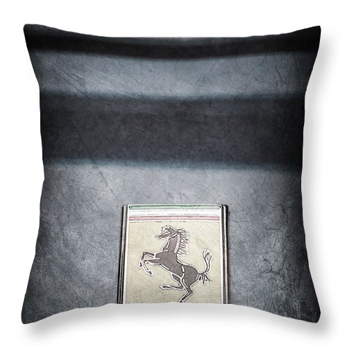 1956 Ferrari Emblem Throw Pillow featuring the photograph 1956 Ferrari Emblem by Jill Reger