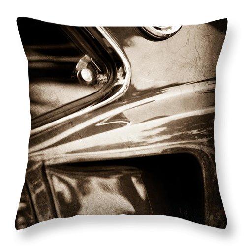 1969 Ford Mustang Mach 1 Emblem Throw Pillow featuring the photograph 1969 Ford Mustang Mach 1 Emblem by Jill Reger