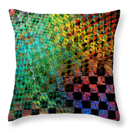 Design Throw Pillow featuring the photograph Abstract Checkered Pattern Fractal Flame by Keith Webber Jr