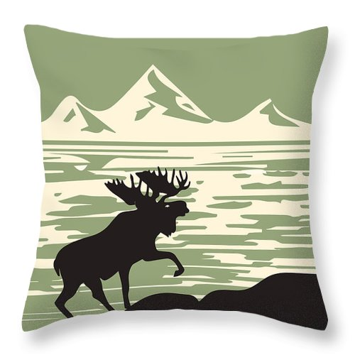 Alaska Denali National Park Poster Throw Pillow featuring the digital art Alaska Denali National Park Poster by Celestial Images