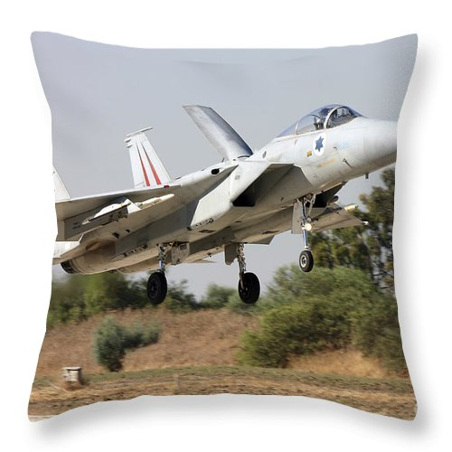 Transportation Throw Pillow featuring the photograph An F-15c Baz Of The Israeli Air Force by Ofer Zidon