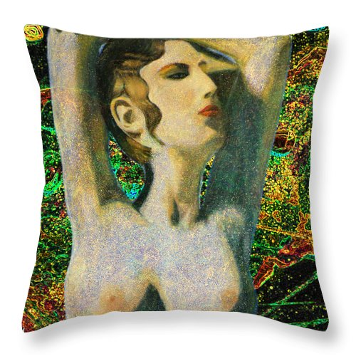 Augusta Stylianou Throw Pillow featuring the digital art Aphrodite And Cyprus Map by Augusta Stylianou