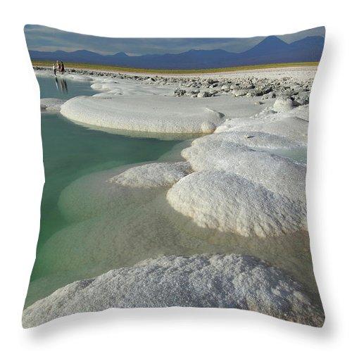 Altiplano Throw Pillow featuring the photograph Atacama Salt Lake Near San Pedro De by Christian Heeb