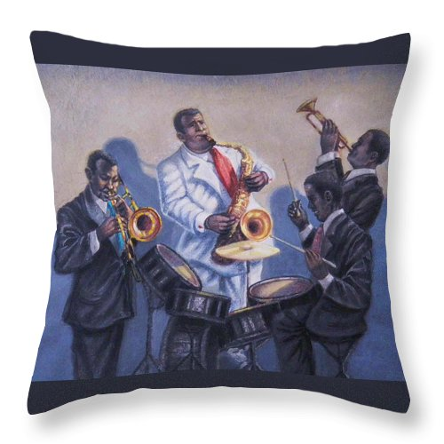 Jazz Throw Pillow featuring the painting Big Jay And Company by Raffi Jacobian