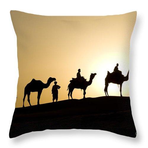 Asia Throw Pillow featuring the photograph Camel Caravan, India by John Shaw