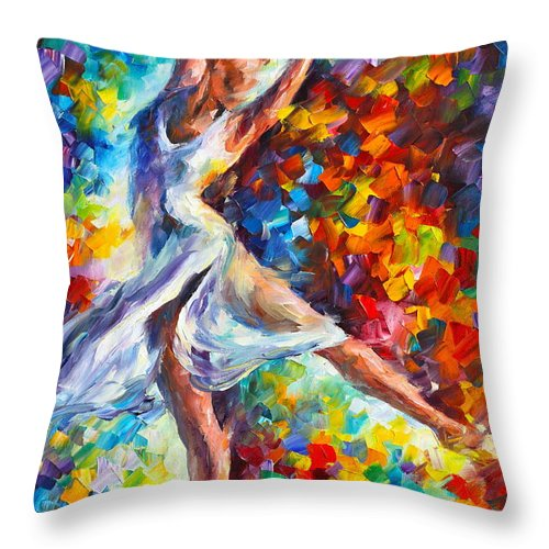 Ballet Throw Pillow featuring the painting Candle Fire by Leonid Afremov