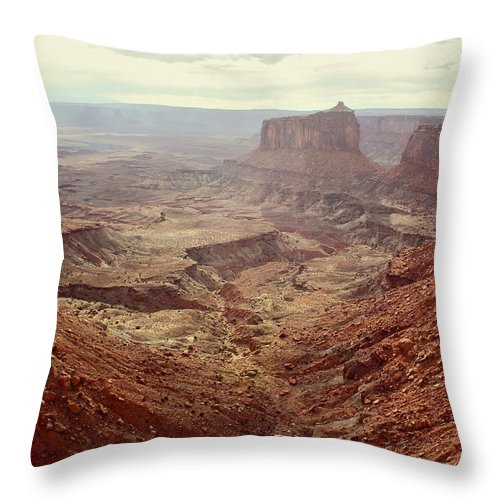 Brett Pfister Canyonlands National Park Popular Artist Fine Art Photography Epic Grand Scene Landscape Mountain Amazing Vintage Old Tall Massive Colorado Utah Arkansas Trees River Valley Sunset Sunrise Rock Location Bright Colorful Clouds Scenic Elevation High Rugged Realistic Canon Wide Throw Pillow featuring the photograph Canyonlands National Park In Utah by Brett Pfister