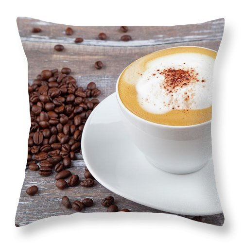 Cappuccino Throw Pillow featuring the photograph Coffee by Focusstock