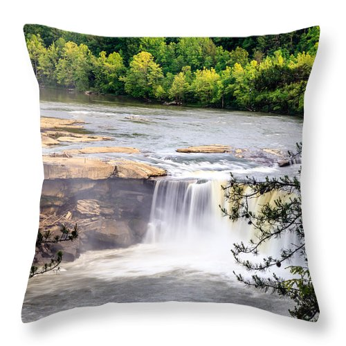 America Throw Pillow featuring the photograph Cumberland Falls by Alexey Stiop