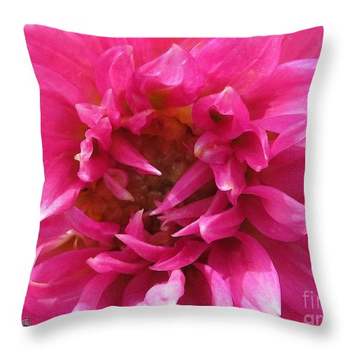 Mccombie Throw Pillow featuring the painting Dahlia Named Pretty In Pink by J McCombie