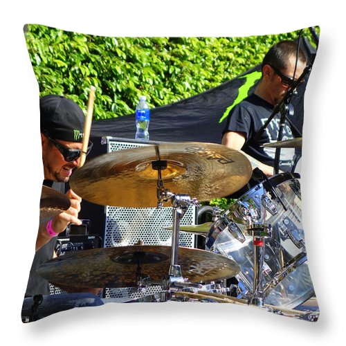 Dave Lombardo And Pancho Tomaselli Throw Pillow featuring the photograph Dave Lombardo And Pancho Tomaselli by Linda De La Rosa