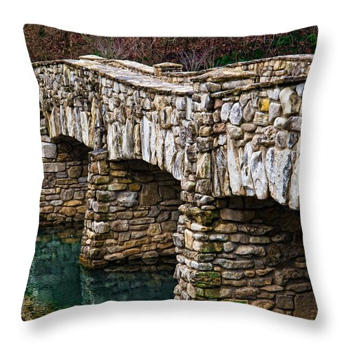 Stone Bridge Throw Pillow featuring the photograph Dogwood Canyon Nature Park Near Branson Mo by Cindy Tiefenbrunn