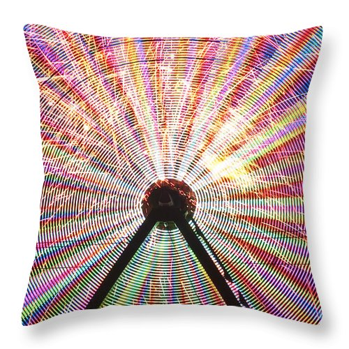 Americana Throw Pillow featuring the photograph Ferris Wheel And Fireworks by Jim Corwin