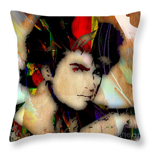 George Michael Throw Pillow featuring the mixed media George Michael Collection by Marvin Blaine