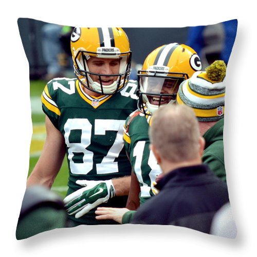 Jordy Nelson Throw Pillow featuring the photograph Green Bay Packers by Melody Yerge