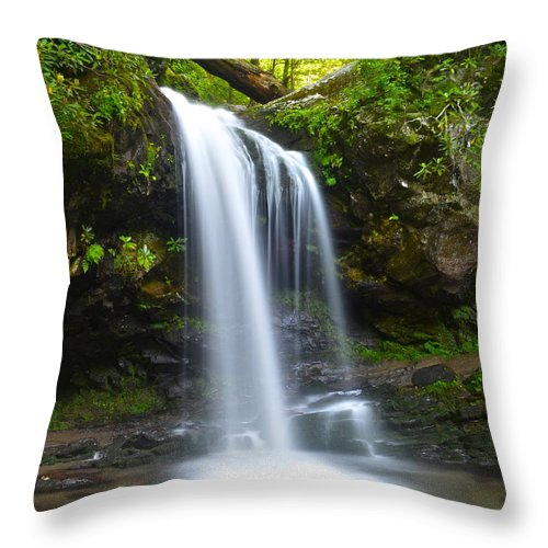 Grotto Throw Pillow featuring the photograph Grotto Falls by Frozen in Time Fine Art Photography