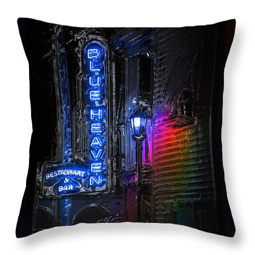 Blue Heaven Throw Pillow featuring the photograph Key West Florida - Blue Heaven Rendezvous by John Stephens
