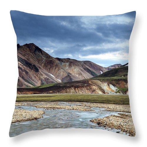 Night Throw Pillow featuring the photograph Landmannalaugar Iceland by Gunnar Orn Arnason