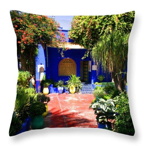 Majorelle Garden Throw Pillow featuring the photograph Majorelle Garden Marrakesh Morocco by Ralph A Ledergerber-Photography