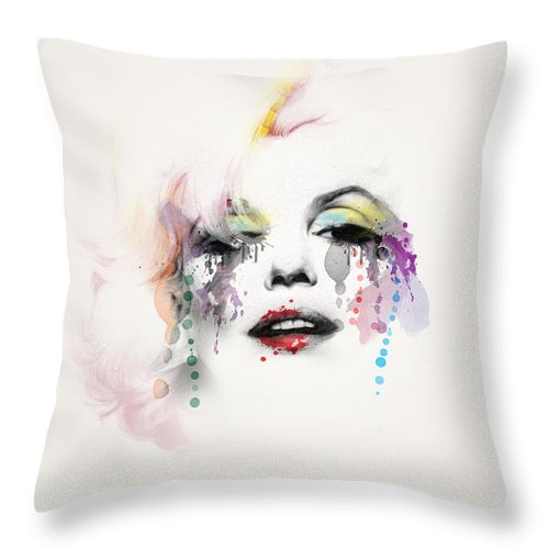 Pop Art Throw Pillow featuring the painting Marilyn Monroe by Mark Ashkenazi