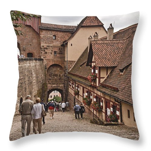 Nurnberg Throw Pillow featuring the photograph Nurnberg Germany Castle by Howard Stapleton