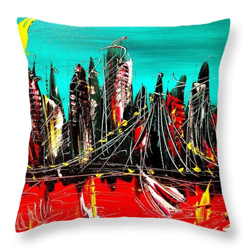 New York City Throw Pillow featuring the painting NY by Mark Kazav