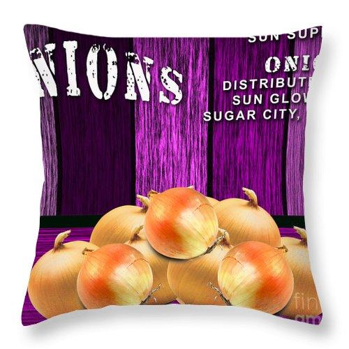 Onion Mixed Media Throw Pillow featuring the mixed media Orange Farm by Marvin Blaine