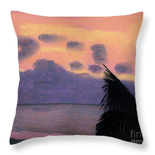 Sunrise Throw Pillow featuring the drawing Pastel Palm Tree Sunrise by D Hackett