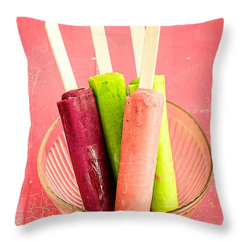 Popsicles Throw Pillow featuring the photograph Popsicles Ice Cream Frozen Treat by Edward Fielding