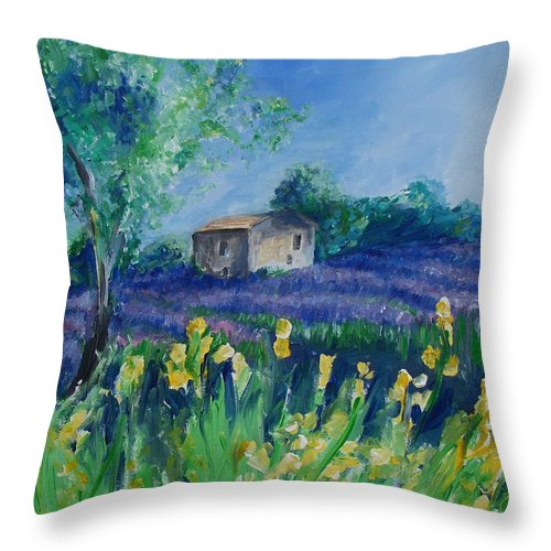 Provence Throw Pillow featuring the painting Provence Lavender Field by Eric Schiabor
