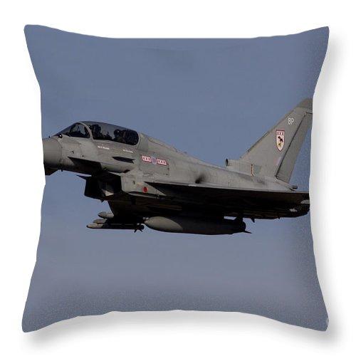 Air Show Throw Pillow featuring the digital art Raf Typhoon by J Biggadike