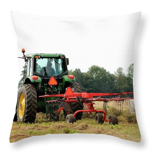Mccombie Throw Pillow featuring the painting Raking Hay by J McCombie