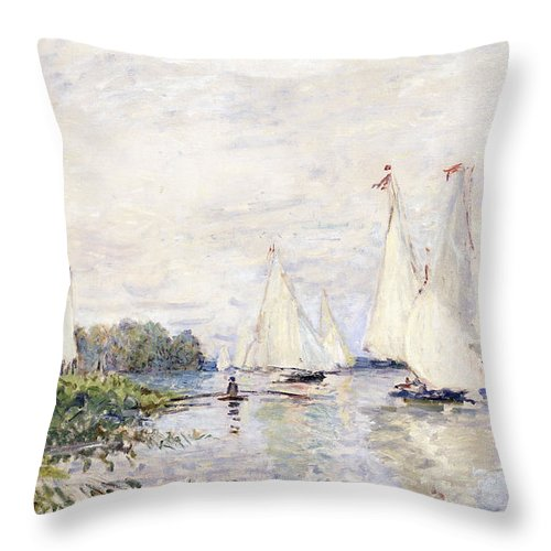 1870s Throw Pillow featuring the painting Regatta At Argenteuil by Claude Monet