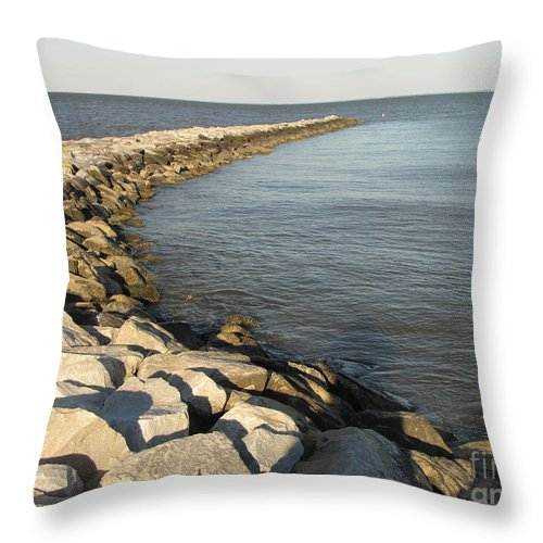 Schuminweb Throw Pillow featuring the photograph Rock Jetty At Sandy Point by Ben Schumin