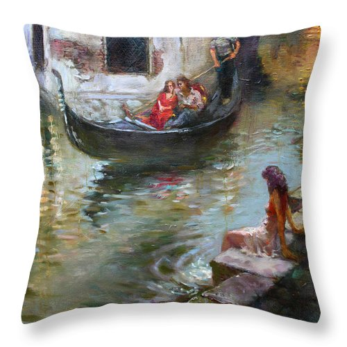 Romance Throw Pillow featuring the painting Romance In Venice by Ylli Haruni