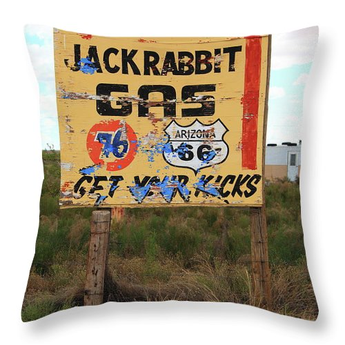 66 Throw Pillow featuring the photograph Route 66 - Jack Rabbit Trading Post by Frank Romeo