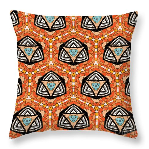 Abstract Throw Pillow featuring the photograph Seamlessly Tiled Kaleidoscopic Mosaic Pattern by Stephan Pietzko