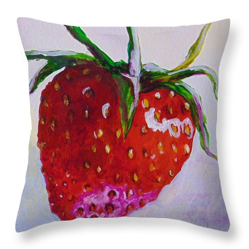 Strawberry Throw Pillow featuring the painting Single Strawberry by Pat Gerace