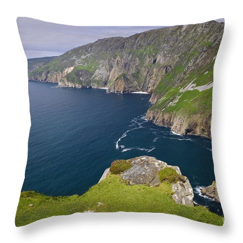 County Donegal Throw Pillow featuring the photograph Slieve League Cliffs, Ireland by John Shaw