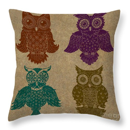 Owls Throw Pillow featuring the painting 4 Sophisticated Owls Colored by Kyle Wood