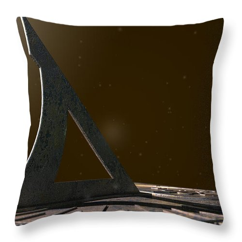 Sundial Throw Pillow featuring the digital art Sundial Lost In Time by Allan Swart